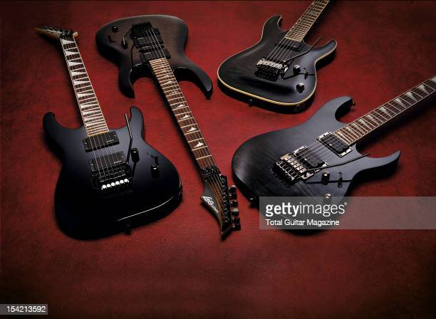 A selection of electric guitars with vibrato bars including a Jackson DXMG Dinky LAG Arkane A200ST LTD MH250 and a Ibanez RG320 taken on October 3...