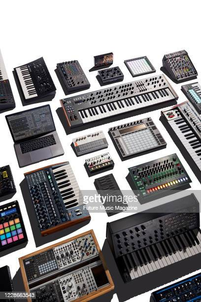 A selection of electronic musical instruments including keyboards synthesizers and effects pedals taken on November 15 2019