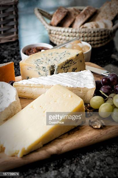 Selection of English and French Cheese on Rustic board