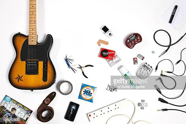 A selection of equipment needed to build a stage survival kit photographed during a studio shoot for Total Guitar Magazine August 23 2012