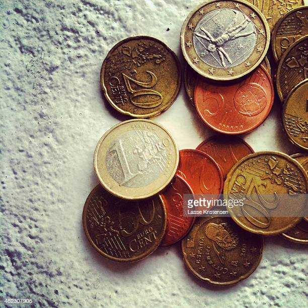 A selection of Euros in coins