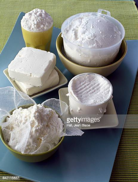 Selection of five varieties of fresh cheeses