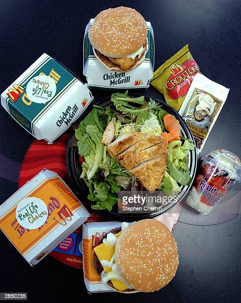 A selection of foods from McDonald's new 'Real Life Choices' menu are displayed January 7 in New York City The fast food giant has developed a low...