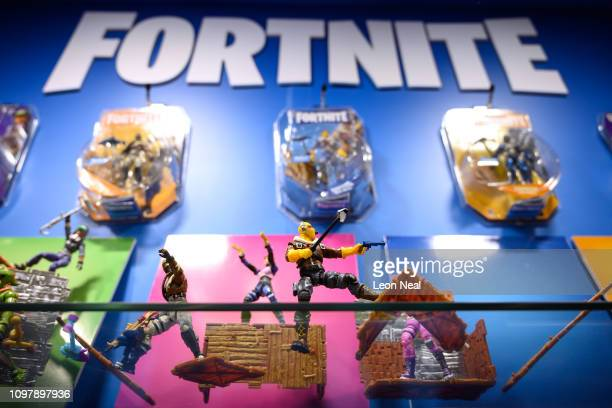 "Selection of ""Fortnite"" action figures are seen on a display at the annual ""Toy Fair"" at Olympia London on January 22, 2019 in London, England. The..."