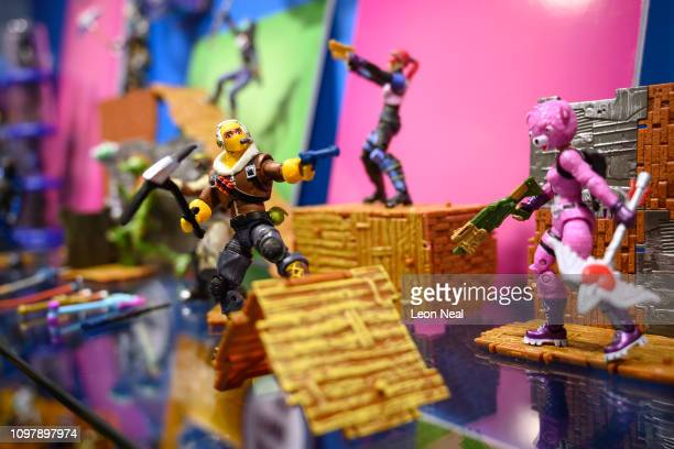 A selection of Fortnite action figures are seen on a display at the annual Toy Fair at Olympia London on January 22 2019 in London England The Toy...