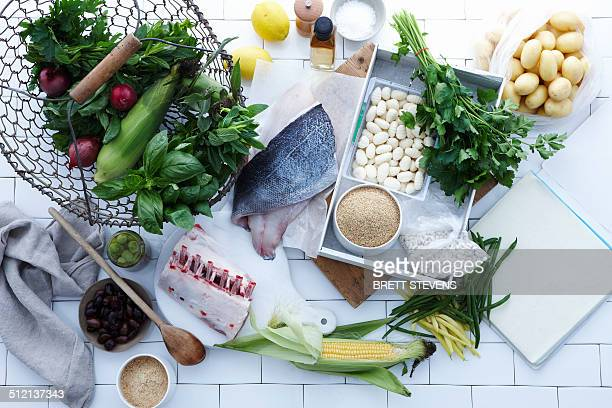 Selection of fresh fish, meat and vegetables