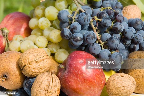 Selection of fresh healthy fruit and nuts from Autumn