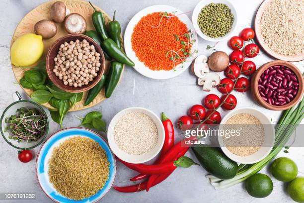 selection of fresh  vegetables and fruits, dry grains and beans - rice food staple stock pictures, royalty-free photos & images