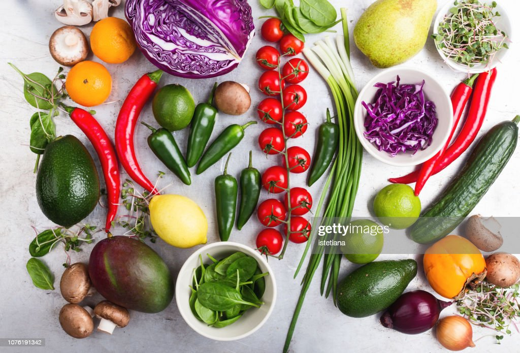Selection of fresh  vegetables and fruits : Stock Photo