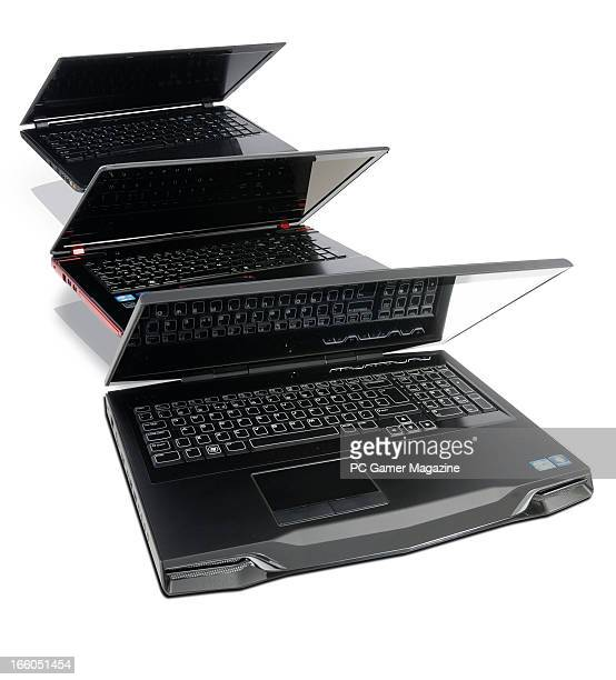A selection of gaming laptop PC's photographed on white taken on July 23 2012