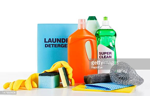 selection of generic household cleaning products against white - dishwashing liquid stock photos and pictures