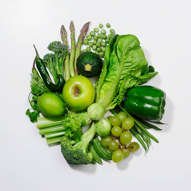 A Selection Of Green Fruits & Vegetables. Wall Art