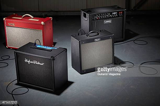 A selection of guitar amplifiers photographed for a feature on the best small amps for live performance including Vox Laney Fender and Hughes And...