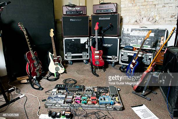 A selection of guitars and effects pedals belonging to Joshua Hayward guitarist with English indie rock group The Horrors photographed in London on...