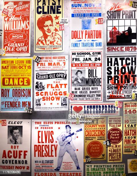 A selection of handprinted posters for sale at Hatch Show Print in Nashville Tennessee The historic shop has been a working letterpress print shop...