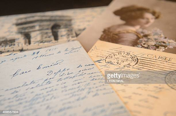Selection of handwritten letters and postcards written to Italian tenor Enrico Caruso are pictured at Christie's auction house in London, on November...