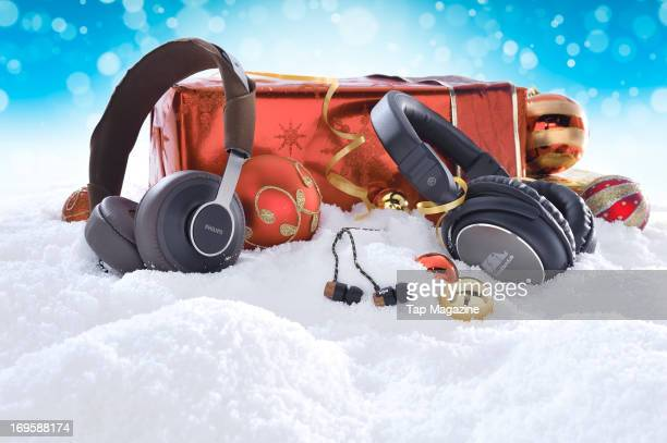 This image has been digitally manipulated A selection of headphones for Apple iOS devices including Philips Citiscape Downtown House Of Marley...