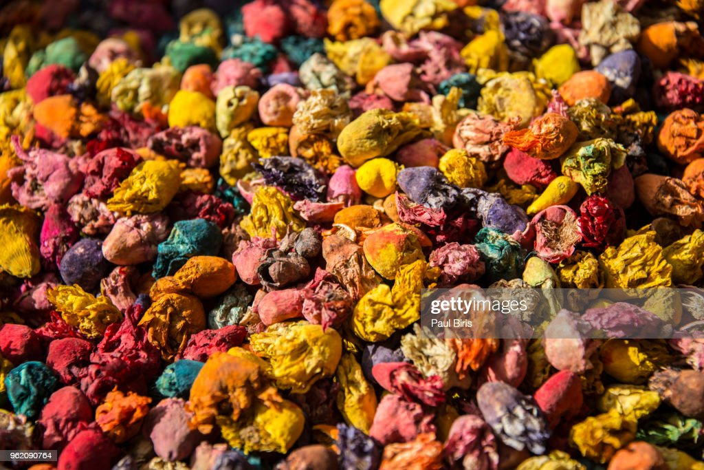 Selection Of Herbs And Dried Flowers On Display Fez Morocco