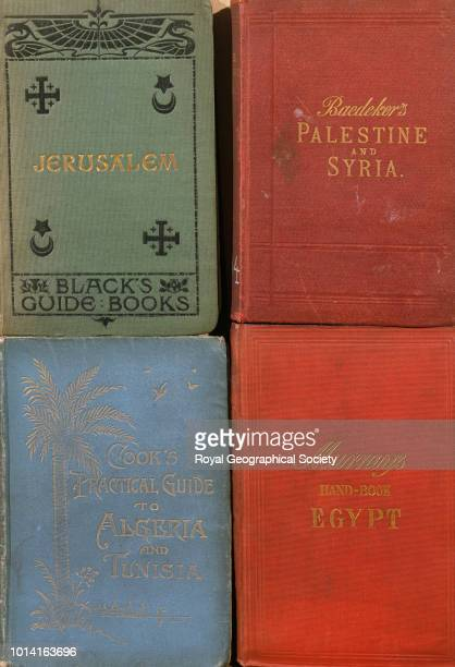 A selection of historical travel guide covers Books shown 'Palestine and Syria Handbook for Travellers' edited by K Baedeker 'Practical Guide to...