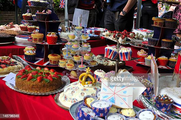 Selection of homemade cakes for consumption by the residents of Melbourne Road Wimbledon in South West London during their street party celebrating...
