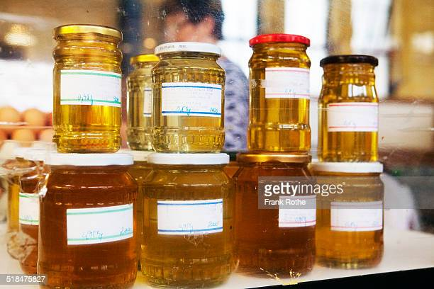 selection of honey at display