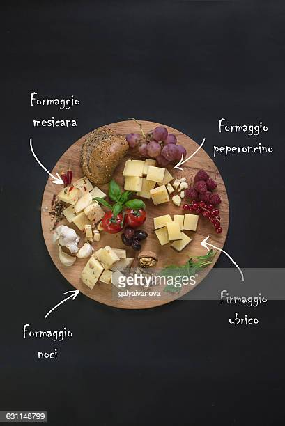 Selection of Italian cheese on chopping board