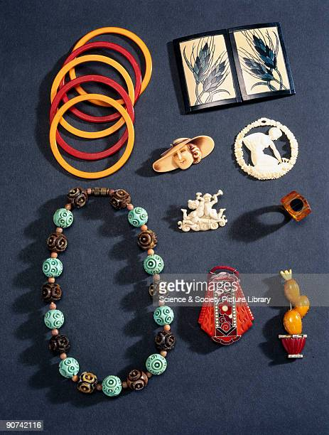 Selection of jewellery from the John Jesse collection 19101950 The items are made of a variety of plastics ranging from cellulose nitrate and casein...