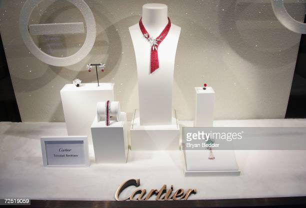 A selection of jewelry stands on show in a window at the Cartier store during its Holiday bow celebration on November 13 2006 in New York City