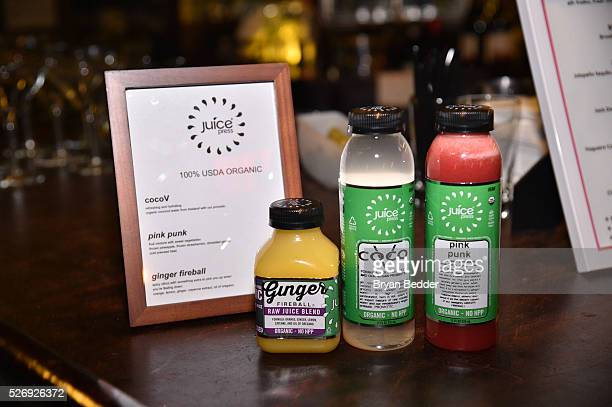 A selection of Juice Press beverages at the Gisele Bundchen Spring Fling book launch on April 30 2016 in New York City