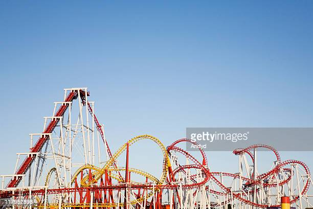 A selection of large roller coasters intertwined together