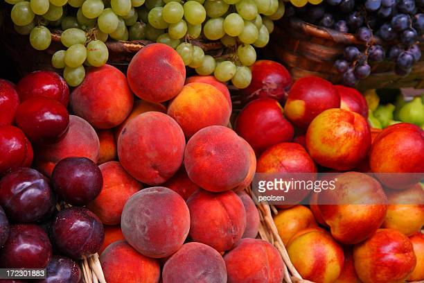 A selection of many fruits in a market