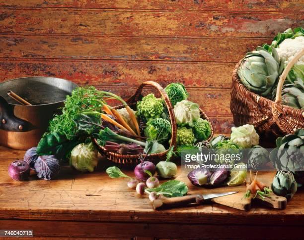 selection of mini vegetables - cavolo cappuccio verde foto e immagini stock