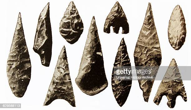 Selection of Neolithic lance and arrow heads found in Ireland