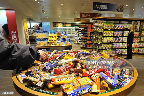 A selection of Nestle chocolate bars is seen on February 21 2008 in a supermarket at company headquarters in Vevey The world's number one food...