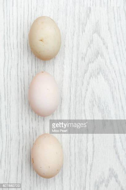 Selection of organic duck eggs on table top