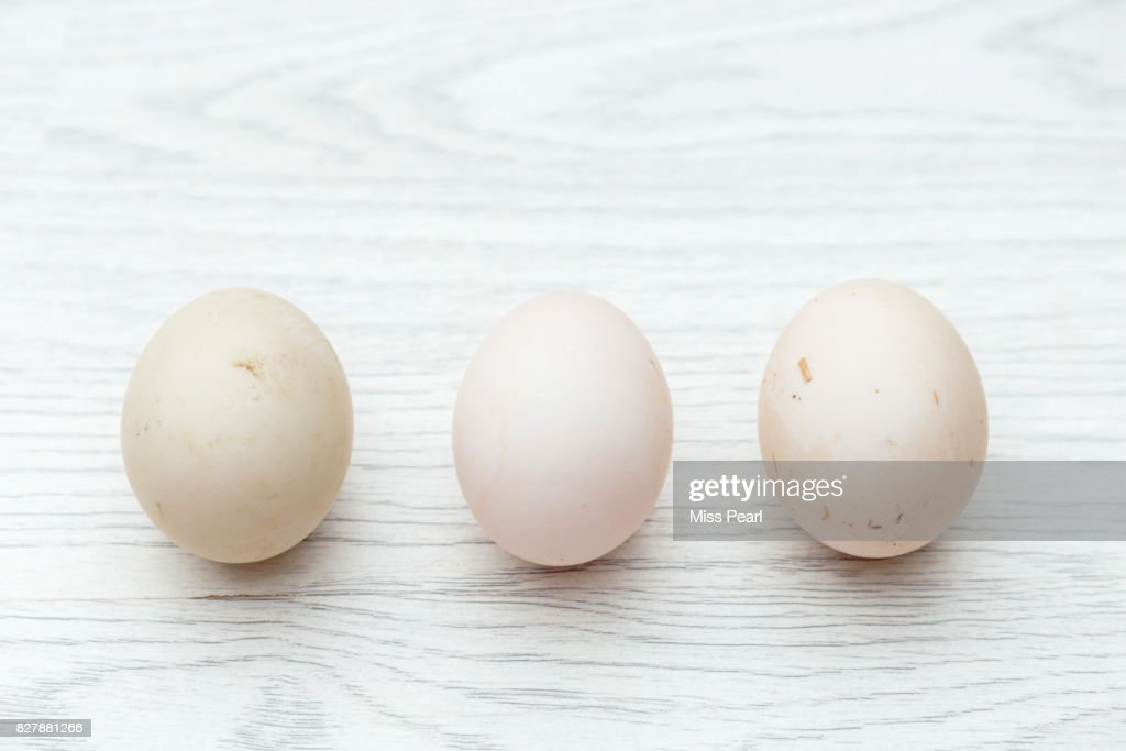 Selection of organic duck eggs on table top : Stock Photo