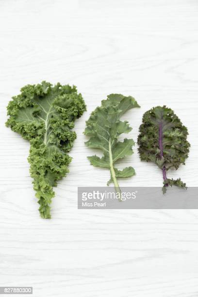 Selection of organic kale leaves on table top