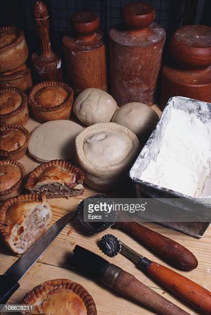 A selection of pies at Dickinsons and Morris's 'Ye Olde Pork Pie Shoppe' in Melton Mowbray Leicestershire May 1984