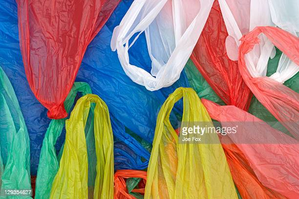 Selection of plain plastic shopping carrier bags