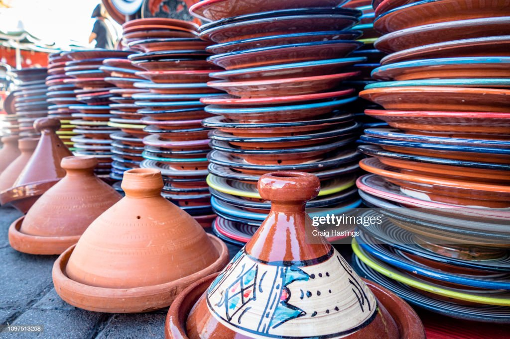 Selection Of Plates Bowls And Porcelain For Sale In The Market Square Souq Of Marrakesh High Res Stock Photo Getty Images