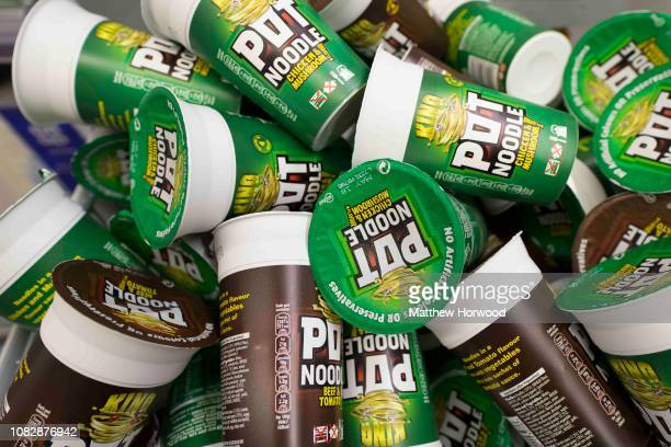 A selection of Pot Noodle snacks for sale in a supermarket on September 21 2017 in Cardiff United Kingdom