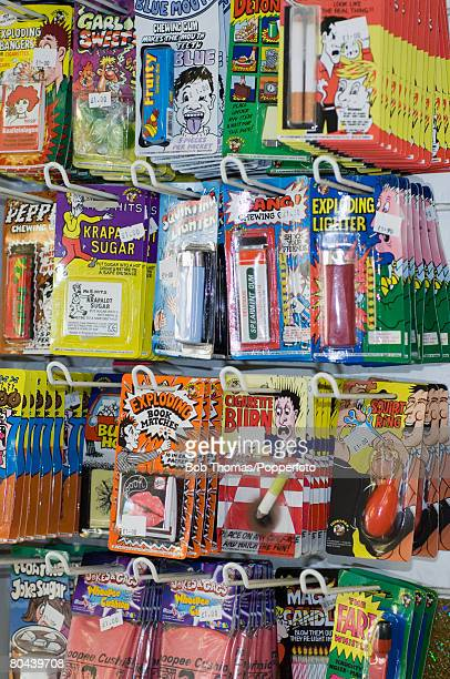 Selection of practical jokes on display in a souvenir shop in the seaside resort of Blackpool in the northwest of England 28th August 2007
