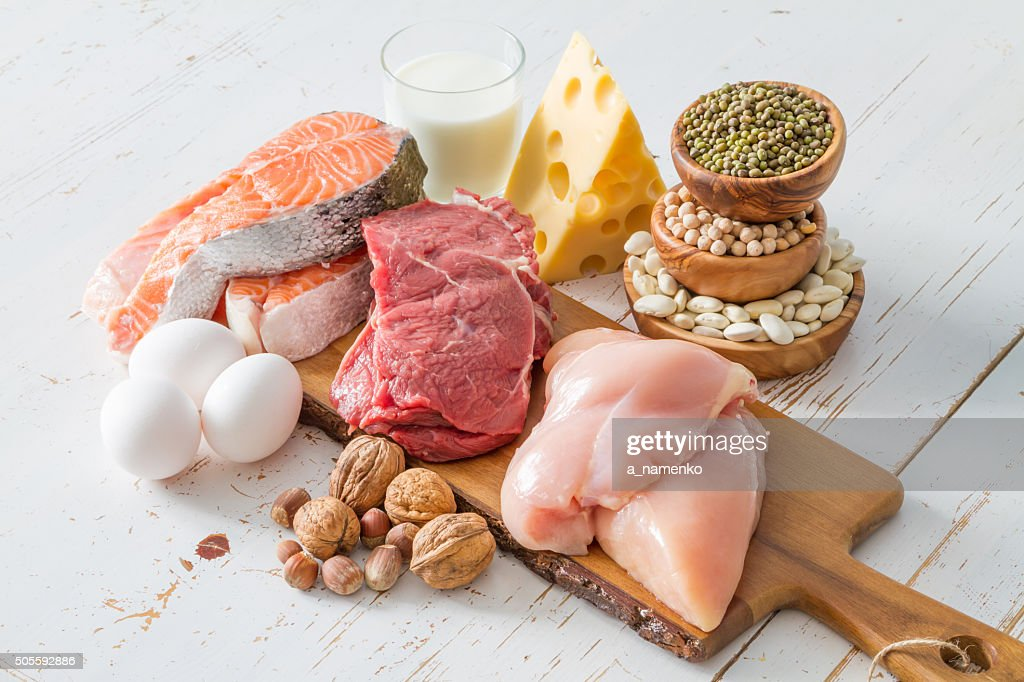 Selection of protein sources in kitchen background : Stock Photo