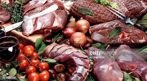 seleção de carnes cruas - carne de cervo - fotografias e filmes do acervo