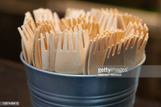 A selection of recyclable wooden forks in a cafe on January 7 2019 in Cardiff United Kingdom