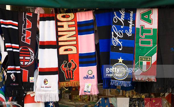 Selection of soccer supporter scarves