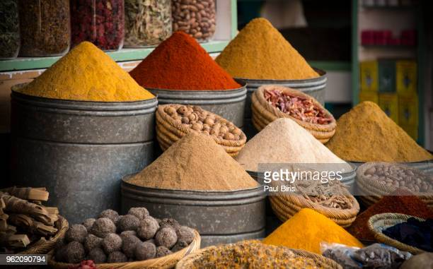 selection of spices on a traditional moroccan market - north africa stock photos and pictures