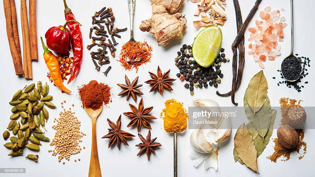 A selection of spices on a white background : Stock Photo