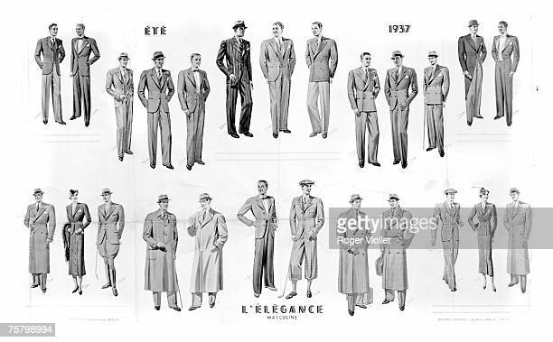 A selection of tailored summer fashion styled around the theme of male elegance Paris Summer 1937