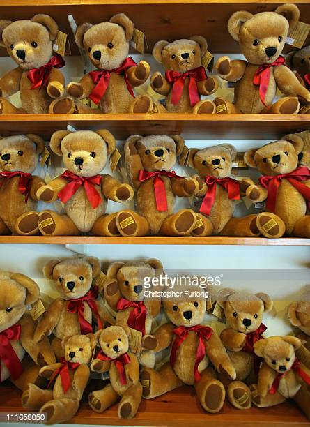 A selection of teddy bears line the shelves of the Merrythought Teddy Bear shop on April 5 2011 in Ironbridge England Established in 1930...